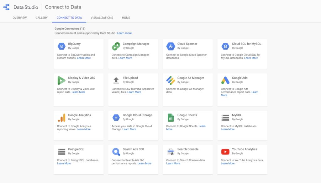 Sources de données - Google Data Studio